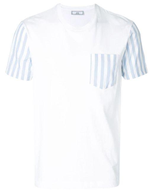 メンズ AMI ストライプディテール Tシャツ White