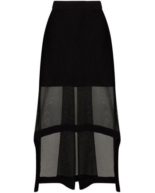 Юбка Миди Асимметричного Кроя Со Вставками Alexander McQueen, цвет: Black