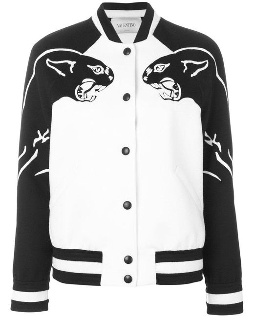 Valentino - White Panther Bomber Jacket - Lyst
