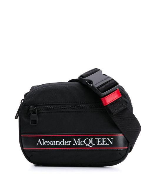 メンズ Alexander McQueen ロゴストライプ ベルトバッグ Black