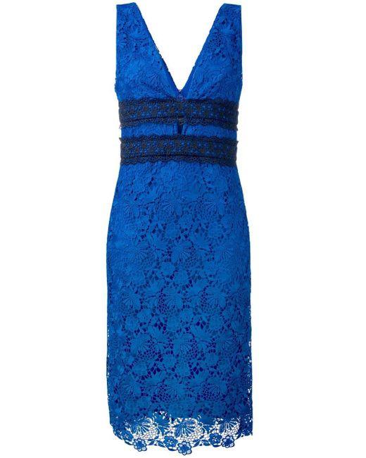 Diane von Furstenberg フローラルレース ドレス Blue