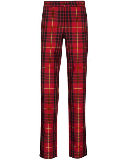 Pantaloni tartan di Comme des Garçons in Red da Uomo
