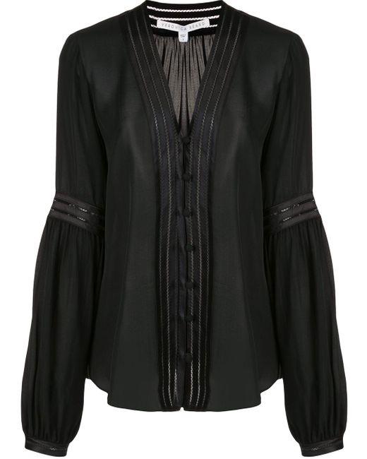 Veronica Beard Yumi プリーツシルクシャツ Black