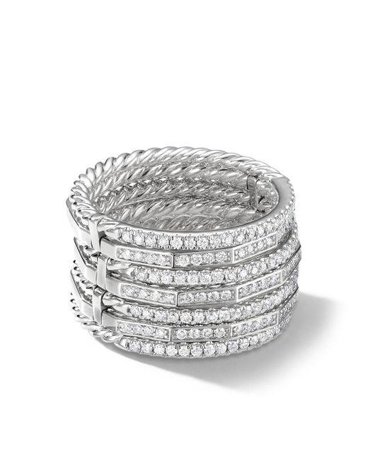 David Yurman Metallic 18kt White Gold Diamond Stackable Ring
