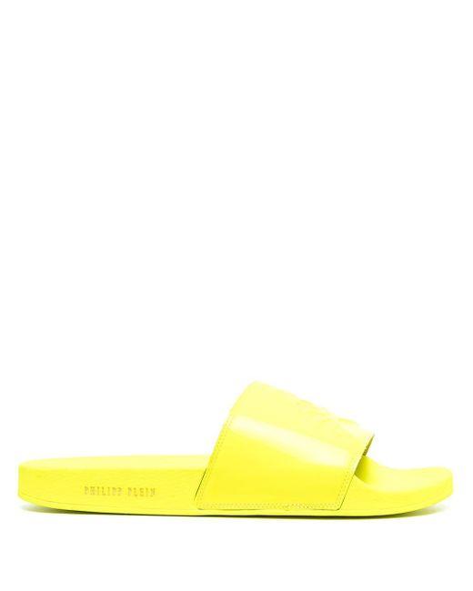 メンズ Philipp Plein スカル エンブロイダリー サンダル Yellow