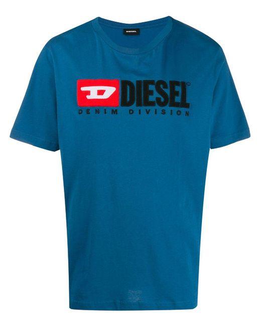 メンズ DIESEL ロゴパッチ Tシャツ Blue