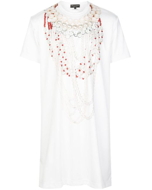 メンズ Comme des Garçons ロング Tシャツ White