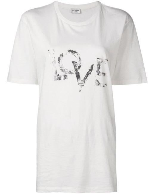 Saint Laurent Camiseta Love con efecto desgastado de mujer de color blanco wSTDC