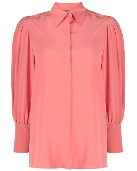 Alberta Ferretti コンシールフロント シルクシャツ Pink