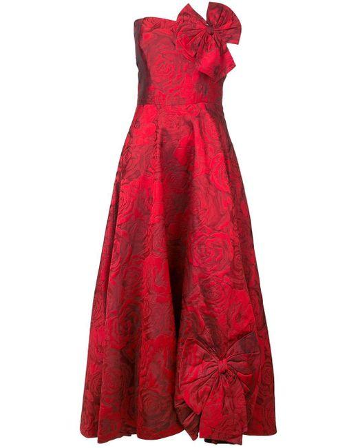 Bambah Rose Patterned Silk Dress in het Red