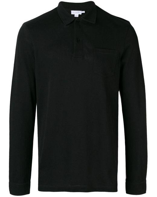 メンズ Sunspel ロングスリーブ ポロシャツ Black