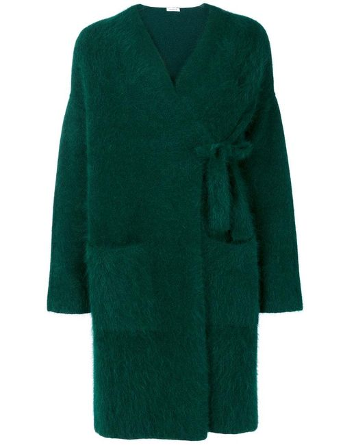 P.A.R.O.S.H. | Green Fluffy Knitted Cardigan Coat | Lyst