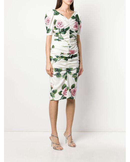 Robe froncée à fleurs Dolce & Gabbana en coloris White