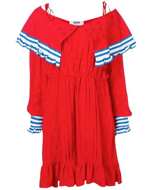 MSGM コントラストパネル ドレス Red