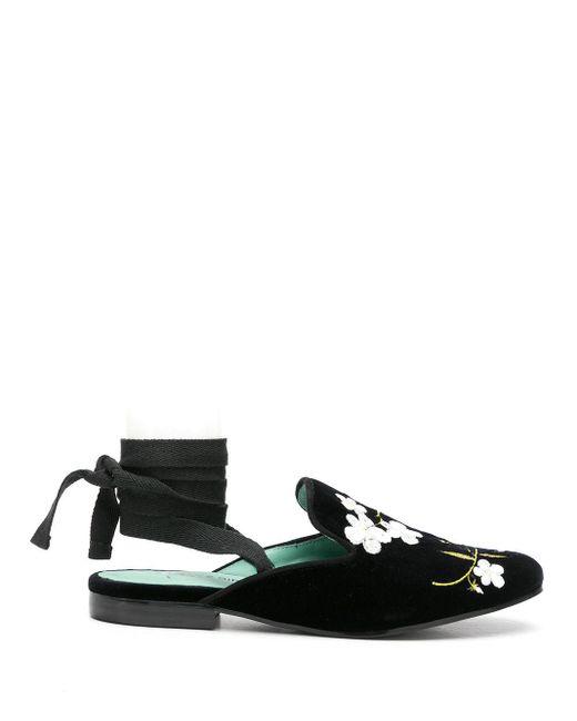 Blue Bird Shoes Black Floral-embroidery Velvet Mules
