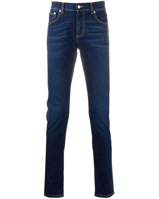 Джинсы Кроя Слим С Нашивкой-логотипом Alexander McQueen для него, цвет: Blue