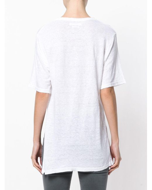 Toile isabel marant kuta logo t shirt in white save 43 for Isabel marant t shirt sale