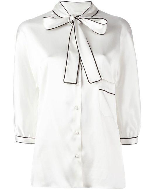 Dolce & Gabbana ボウタイブラウス White