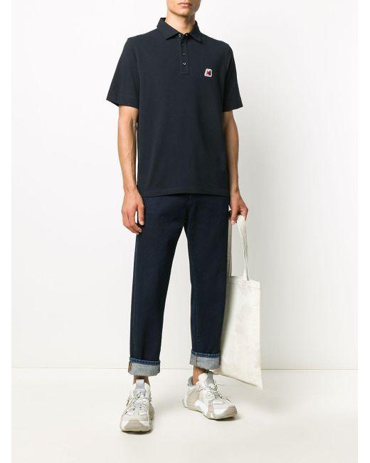 メンズ Moncler ロゴ ポロシャツ Blue