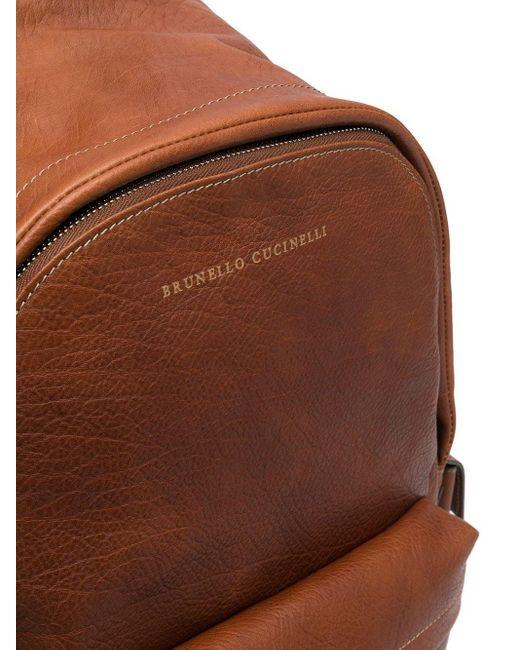 メンズ Brunello Cucinelli ロゴ バックパック Brown