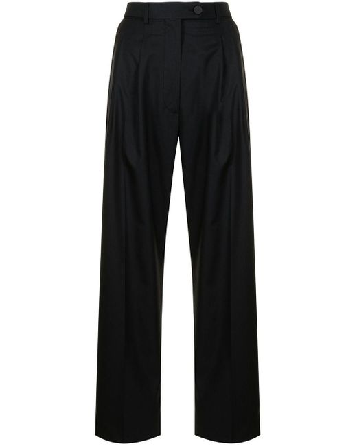 Ports 1961 Black Virgin Wool Tailored Trousers