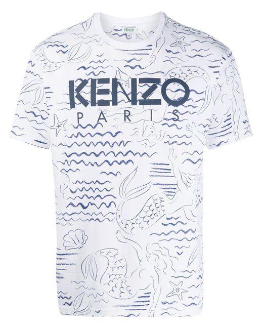 メンズ KENZO Mermaids プリント Tシャツ Multicolor