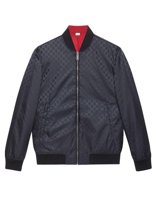 メンズ Gucci 【公式】 (グッチ)GGナイロン リバーシブル ボンバージャケットレッド/ダークブルー GGナイロンブルー Blue