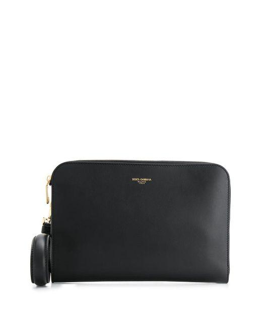 メンズ Dolce & Gabbana ロゴ クラッチバッグ Black