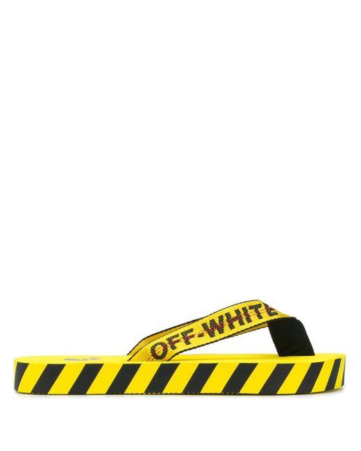 メンズ Off-White c/o Virgil Abloh ストライプ サンダル Yellow