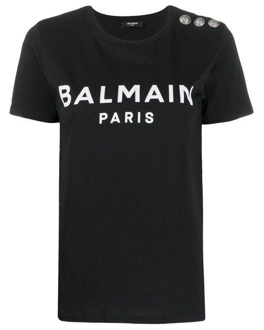 Balmain ロゴ ボタンディテール Tシャツ Black