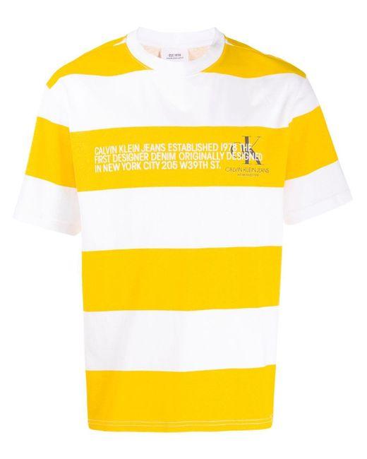 メンズ CALVIN KLEIN JEANS EST. 1978 ストライプ ロゴ Tシャツ Yellow