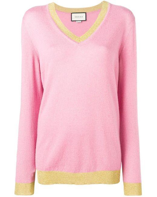 Gucci コントラストトリム セーター Pink