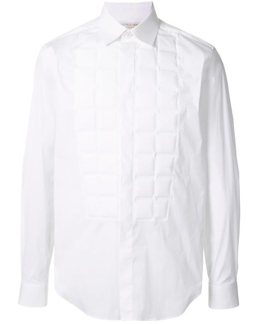 メンズ Bottega Veneta キルティングビブ シャツ White