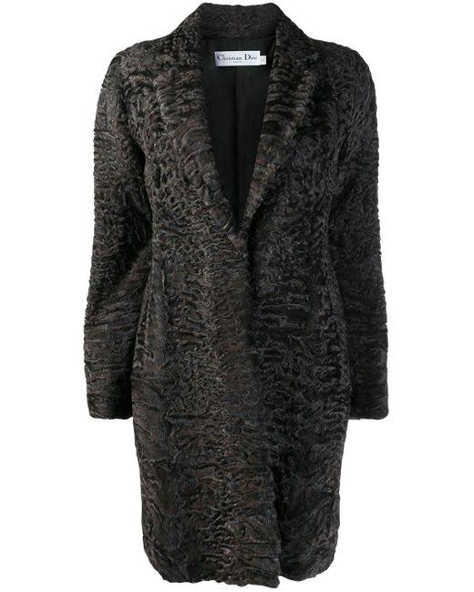 Dior Brown Pre-owned Textured Midi Coat