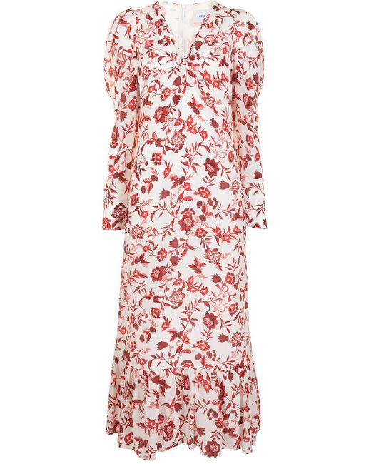 Erdem White Floral-print Silk Dress