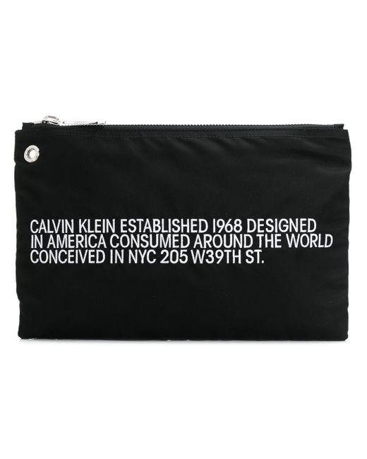 CALVIN KLEIN 205W39NYC スローガン クラッチバッグ Black