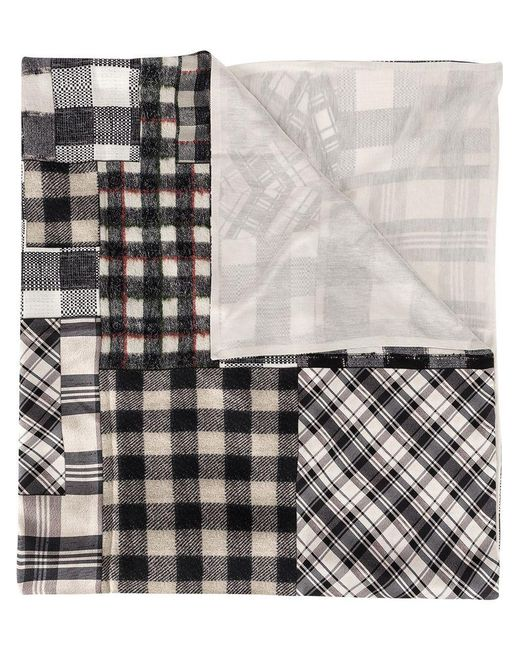 Pierre Louis Mascia - Gray Checked Patchwork Scarf - Lyst