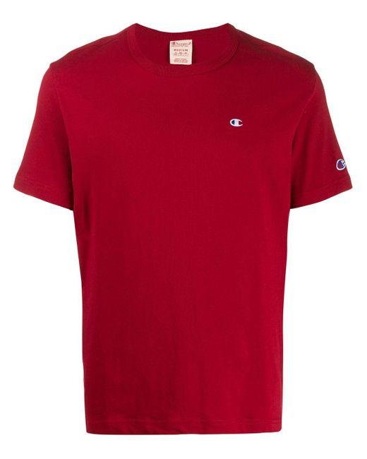 メンズ Champion ロゴ Tシャツ Red