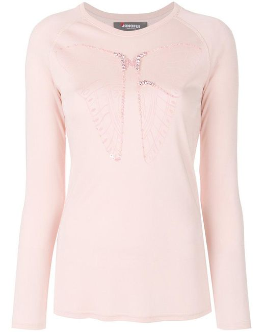 Jo No Fui - Pink Butterfly Embroidered Longsleeved T-shirt - Lyst