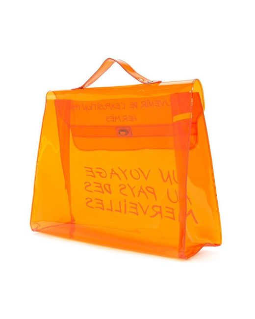 Hermès プレオウンド ケリー クリア ハンドバッグ Orange