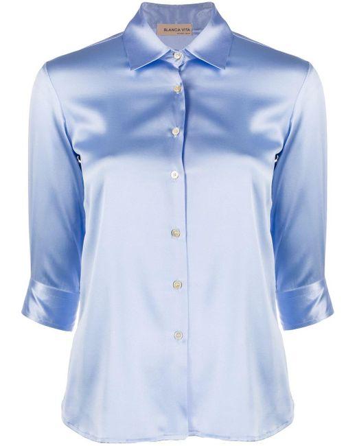Blanca Vita サテン シャツ Blue
