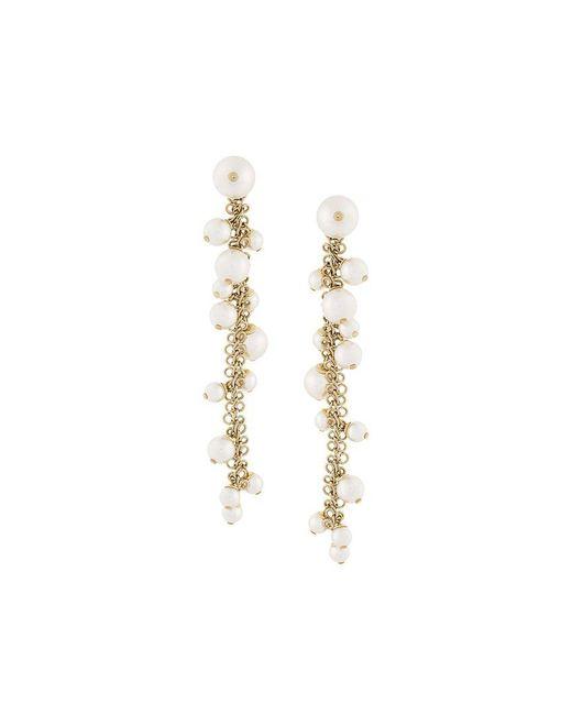 Lanvin | White Long Pearl Earrings | Lyst
