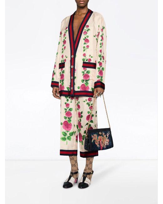 2bfdfadc ... Gucci - Pink Rose Garden Print Silk Pajama Pants - Lyst ...