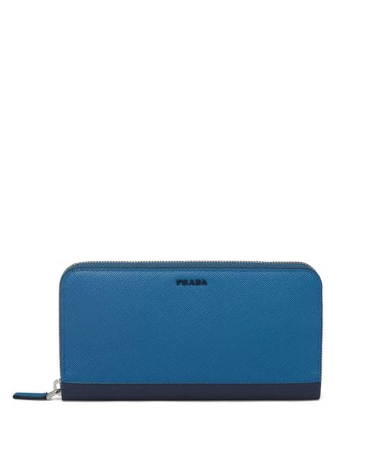 Portefeuille en cuir Saffiano Prada pour homme en coloris Blue