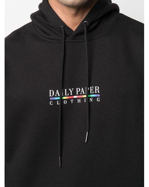 メンズ Daily Paper ロゴ ドローストリング パーカー Black