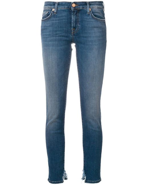 7 For All Mankind Distressed Hem Slim-fit Jeans Blue