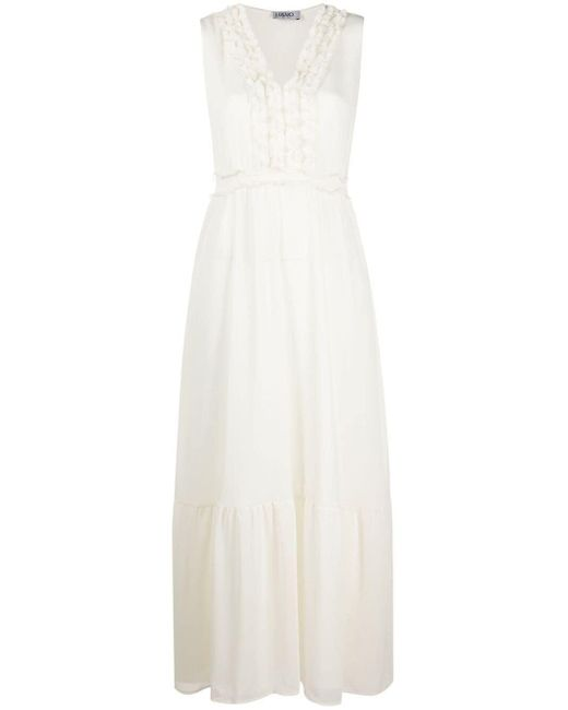 Liu Jo ラッフル Vネックドレス White