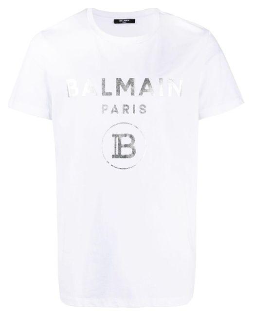Camiseta con logo estampado Balmain de hombre de color White