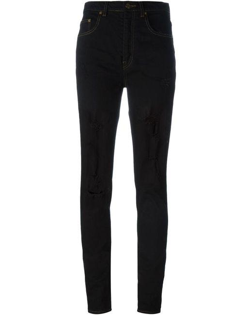 Saint Laurent - Black Ripped Skinny Jeans - Lyst