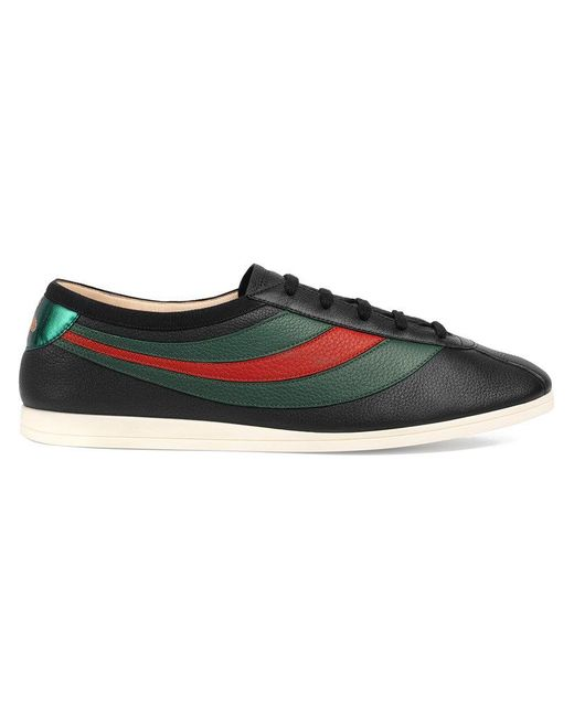 Gucci - Black Leather Low-top Sneaker With Web for Men - Lyst